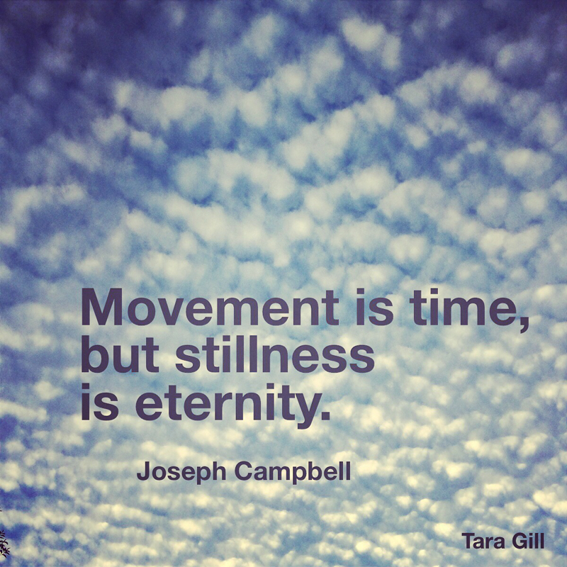 Quote: Movement is time, but stillness is eternity. -Joseph Campbell